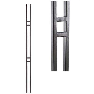 Aalto Modern 44 in. x 0.5 in. Ash Grey Double Bar Hollow Wrought Iron Baluster