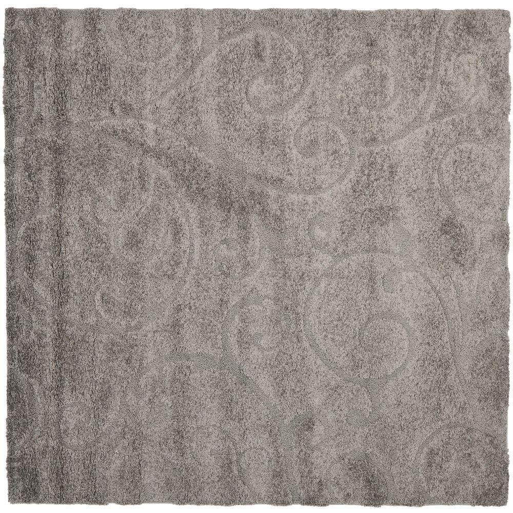 Safavieh Florida Shag Gray 6 ft. 7 in. x 6 ft. 7 in. Square Area Rug