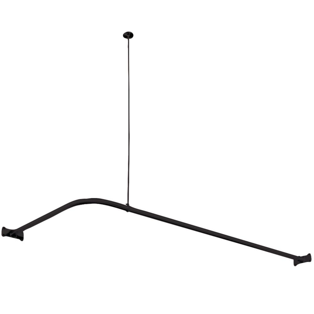 L Shaped Shower Curtain Rod Design L-shaped 63 In. X 27.5 In. Curtain Rod In Matte Black