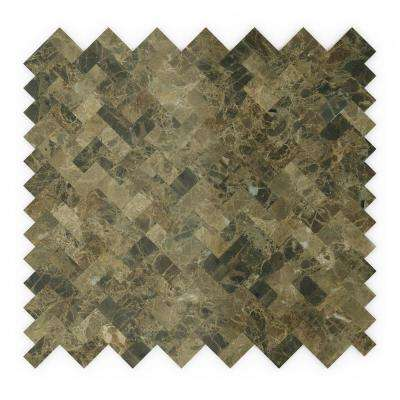 Moka Brown 12 in. x 11.69 in. x 5 mm Stone Self Adhesive Mosaic Wall Tile (11.69 sq. ft. / case)
