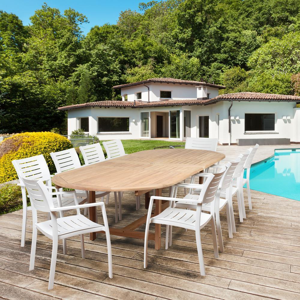 Jordan 11-Piece Wood Double Extendable Rectangular Outdoor Dining Set