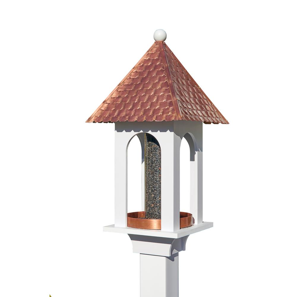 Extra-Large Seed Capacity Bird Feeder with Pure Copper Roof, Composite PVC