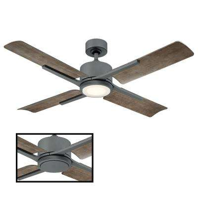 Cervantes 56 in. LED Indoor/Outdoor Graphite 4-Blade Smart Ceiling Fan with 3000K Light Kit and Wall Control