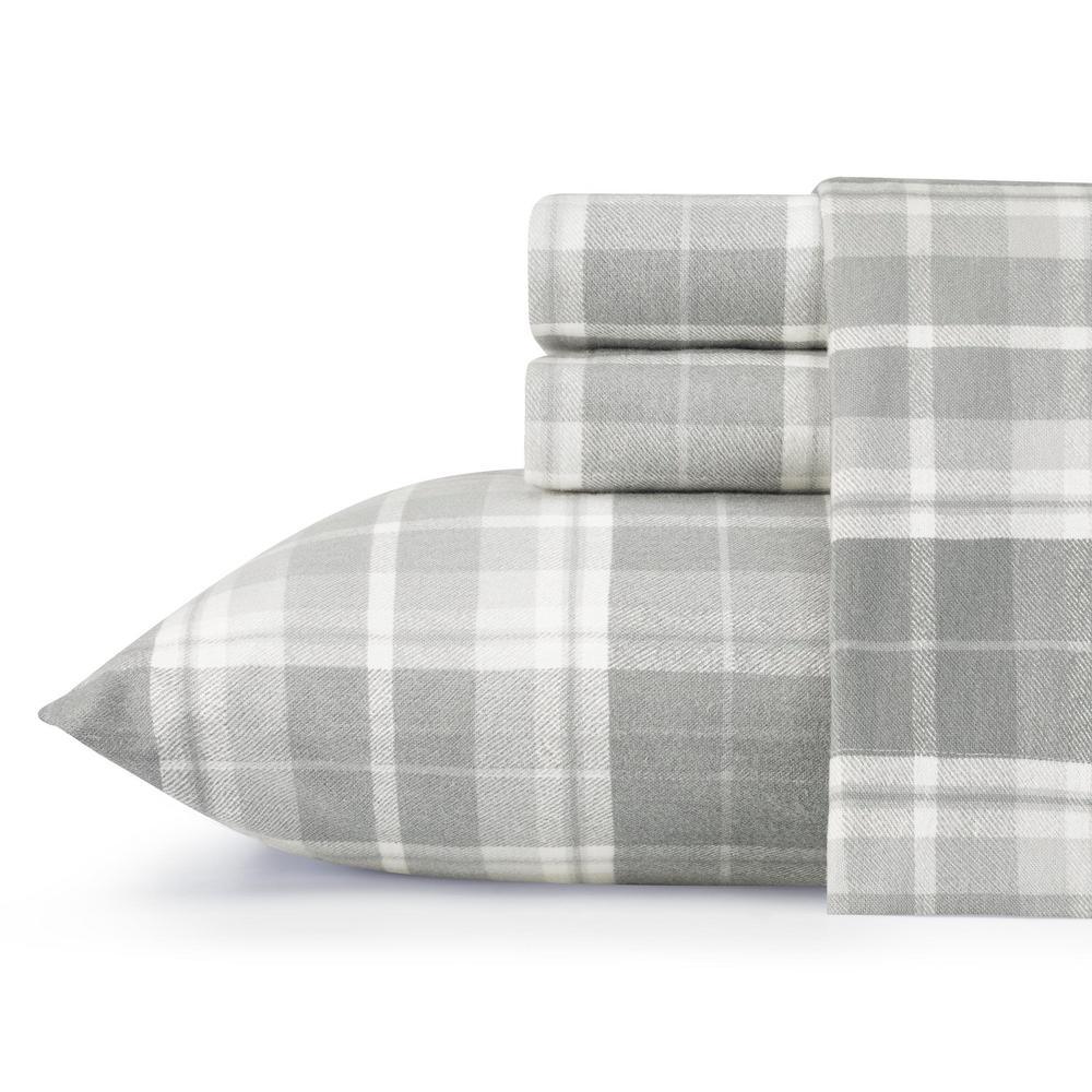 Flannel 4-Piece Medium Grey Plaid Full Sheet Set