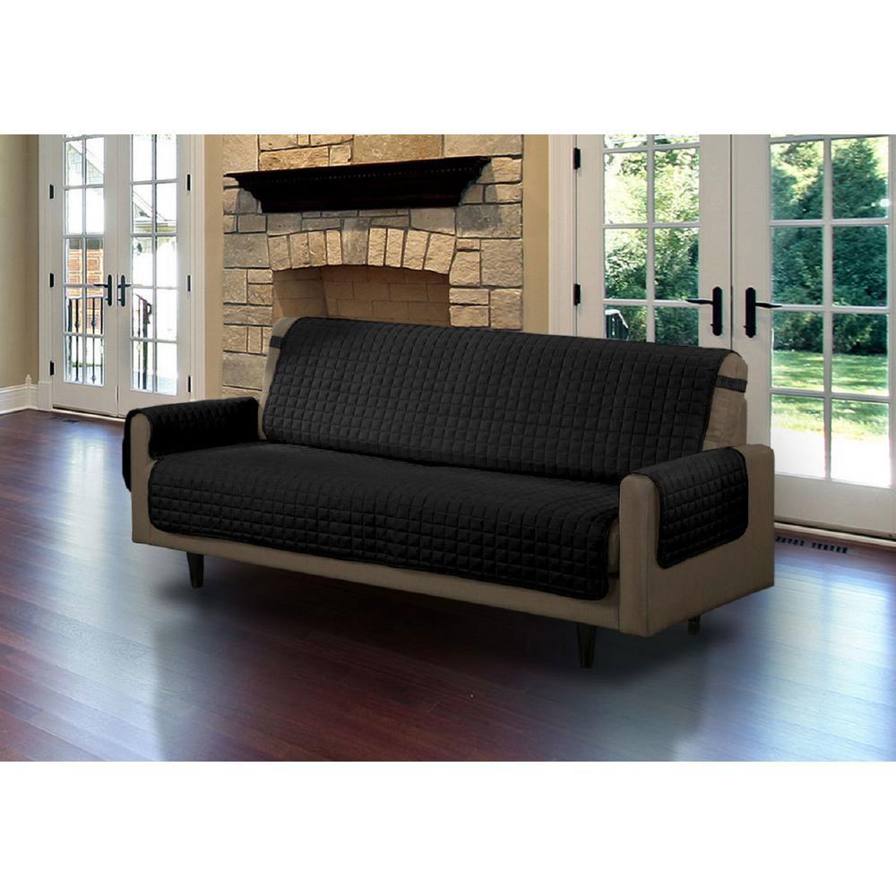 Black Microfiber Sofa Pet Protector Slipcover with Tucks and Strap