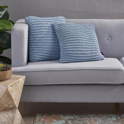 Farlie Light Blue Solid Cotton 17.25 in. x 6 in. Throw Pillow (Set of 2)