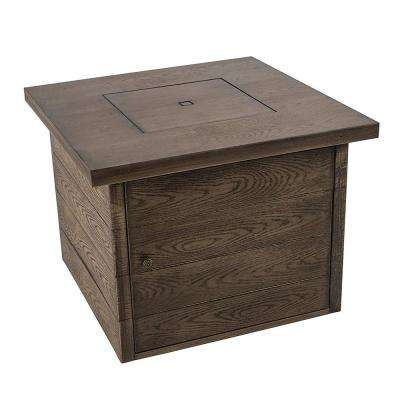 35 in. W x 26 in. H Square Steel Gas Fire Pit with Wood Grain Finish