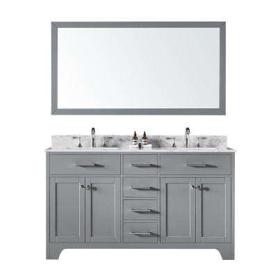 60 in. Double Sink Bathroom Vanity in Taupe Grey with Carrara White Marble Top and Mirror Set