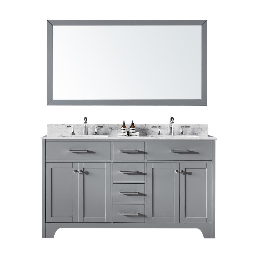 60 in. Double Sink Bathroom Vanity in Taupe Grey with Carrara
