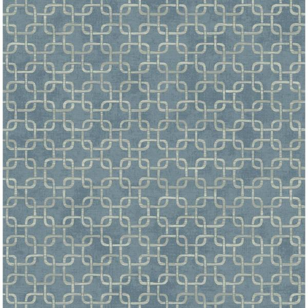 Seabrook Designs Fonzie Metallic Blue and Gray Link Wallpaper RL60702