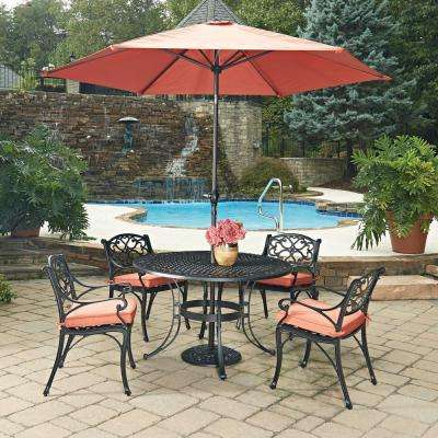 Biscayne Black 7 Piece Cast Aluminum Outdoor Dining Set With C Cushions