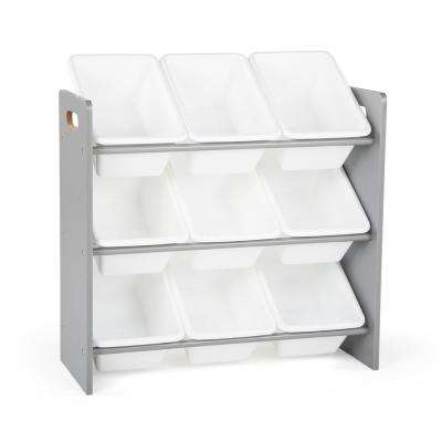 Inspire Collection Grey/White Kids Storage Organizer with 9 Plastic Bins