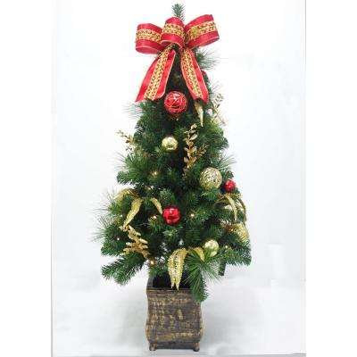 4 ft. Pre-Lit New Plaza Potted Artificial Christmas Tree with 50 Lights
