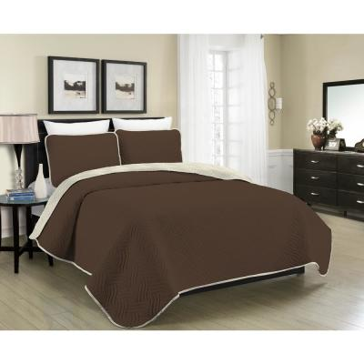 MHF Home Allison Reversible 3-Piece Brown and Cream Full and Queen Quilt Set