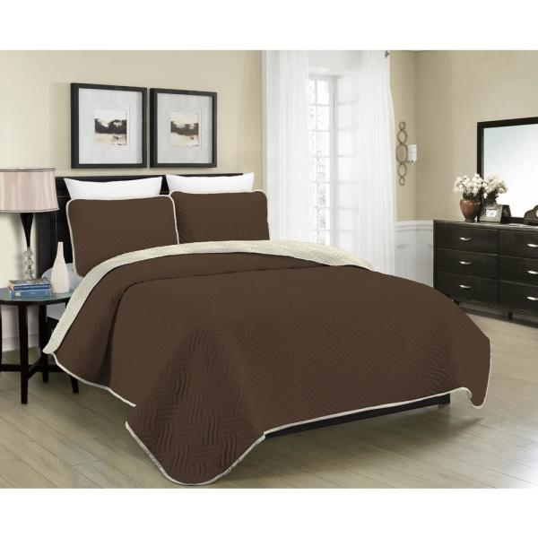 Morgan Home MHF Home Allison Reversible 3-Piece Brown and Cream Full