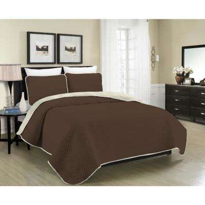 MHF Home Allison Reversible 3-Piece Brown and Cream King Quilt Set