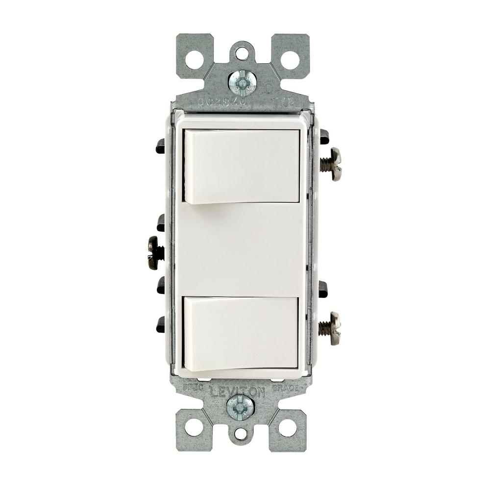 15 Amp Commercial Grade Combination Two Single Pole Rocker Switches, White