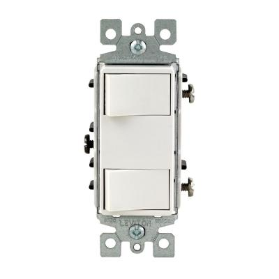 15-Amp Commercial Grade Combination Two Single Pole Rocker Switches, White