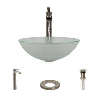 Glass Vessel Sink in Frosted with R9-7007 Faucet and Pop-Up Drain in Brushed Nickel