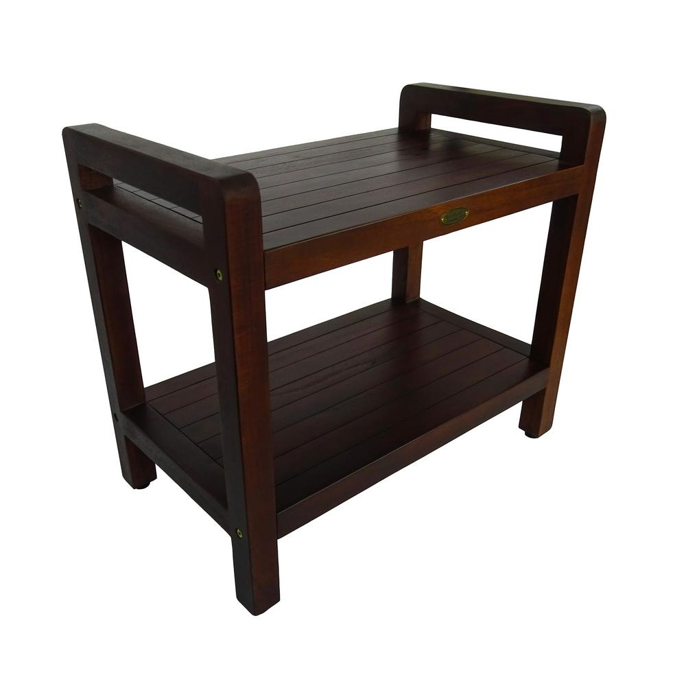 Classic 24 in. Ergonomic Teak Shower Stool with LiftAid Arms And
