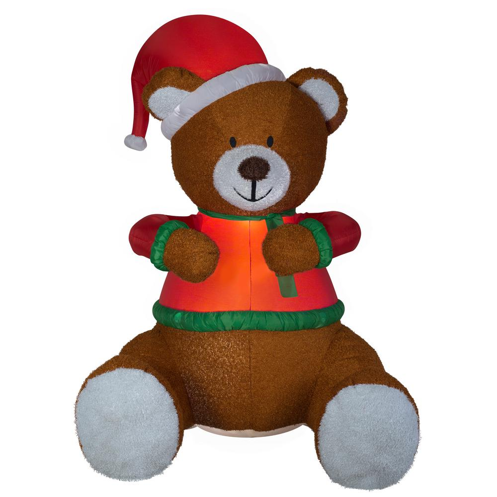 e41fff1b9d4c6 Gemmy 8.5 ft. Animated Hugging Teddy Bear with Santa Hat Inflatable ...