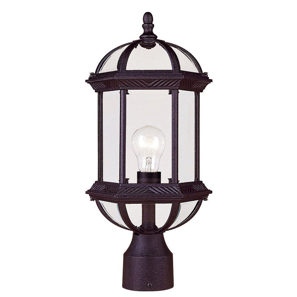 glomar 1 light textured black outdoor incandescent post light hd 548