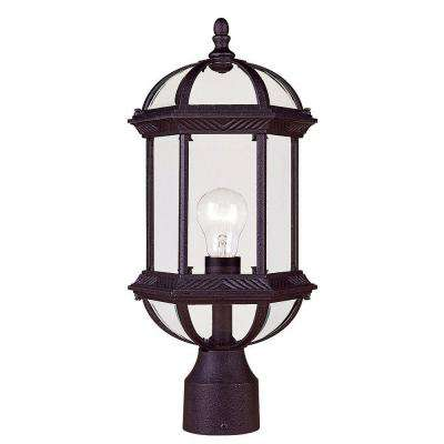 Satin 1-Light Outdoor Textured Black Incandescent Post Light