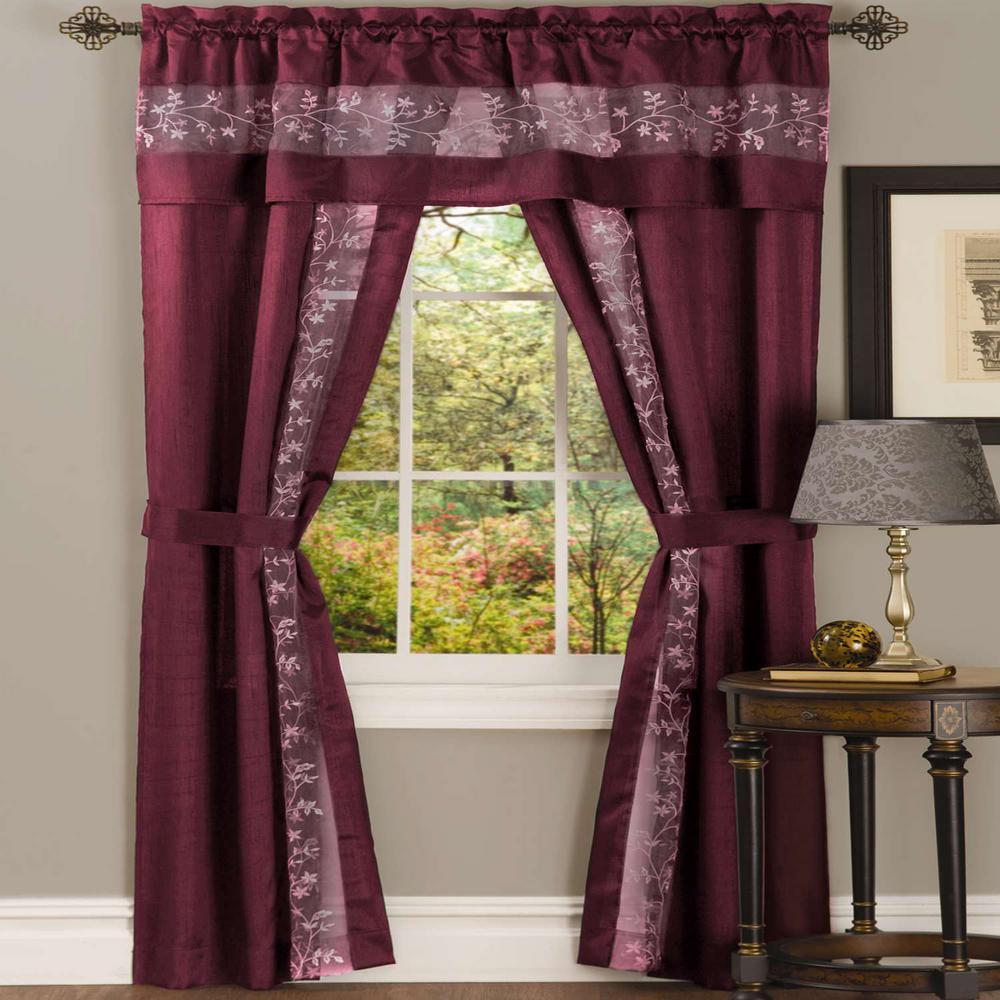 Achim Sheer Fairfield Burgundy Window Curtain Set