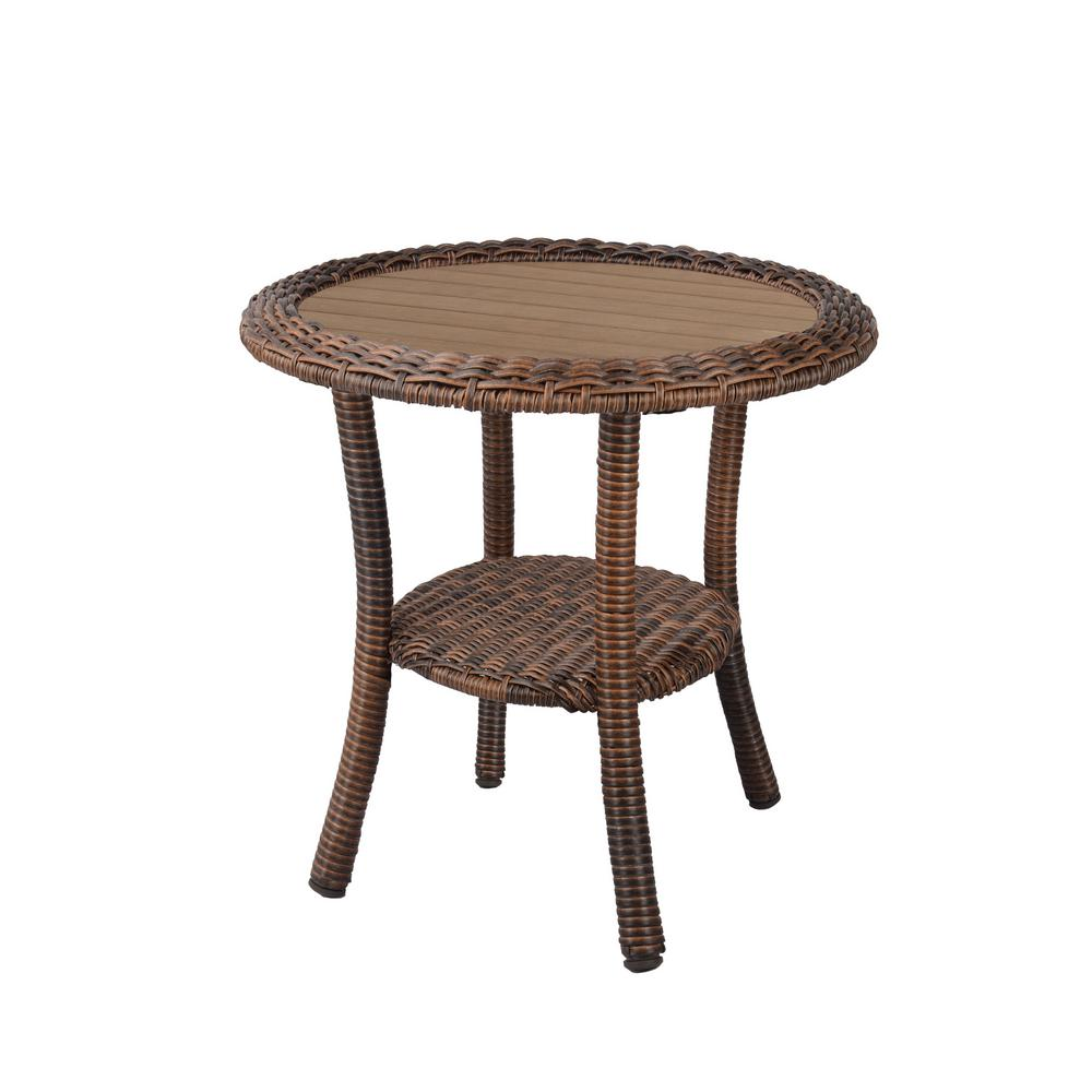 Hampton Bay Cambridge Brown Wicker Outdoor Side Table-9-9B9 - The Home  Depot
