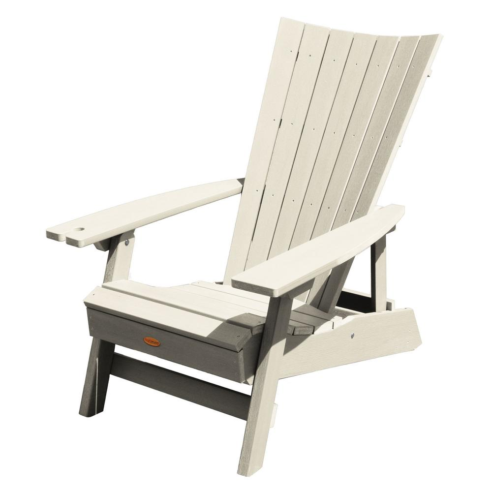 Highwood Manhattan Beach Whitewash Folding And Reclining Recycled Plastic Adirondack Chair With Wine Gl Holder