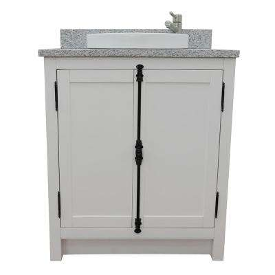 Plantation 31 in. W x 22 in. D Bath Vanity in White with Granite Vanity Top in Gray with White Round Basin