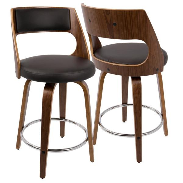 Lumisource Cecina 24 in. Counter Stool in Walnut with Brown Faux