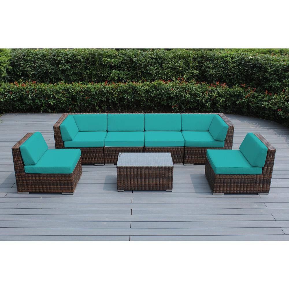 Mixed Brown 7-Piece Wicker Patio Seating Set with Sunbrella Aruba Cushions