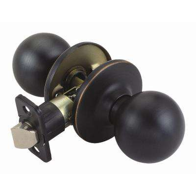 Ball Oil-Rubbed Bronze Passage Knob with Universal 6-Way Latch