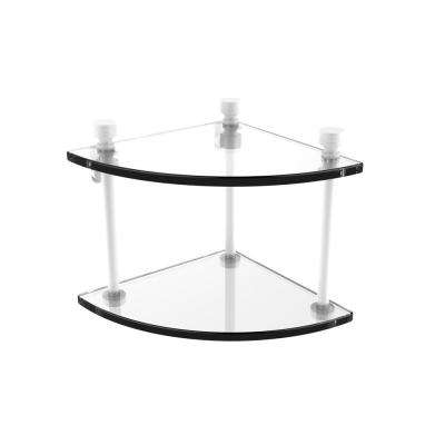 Foxtrot Collection Two Tier Corner Glass Shelf in Matte White