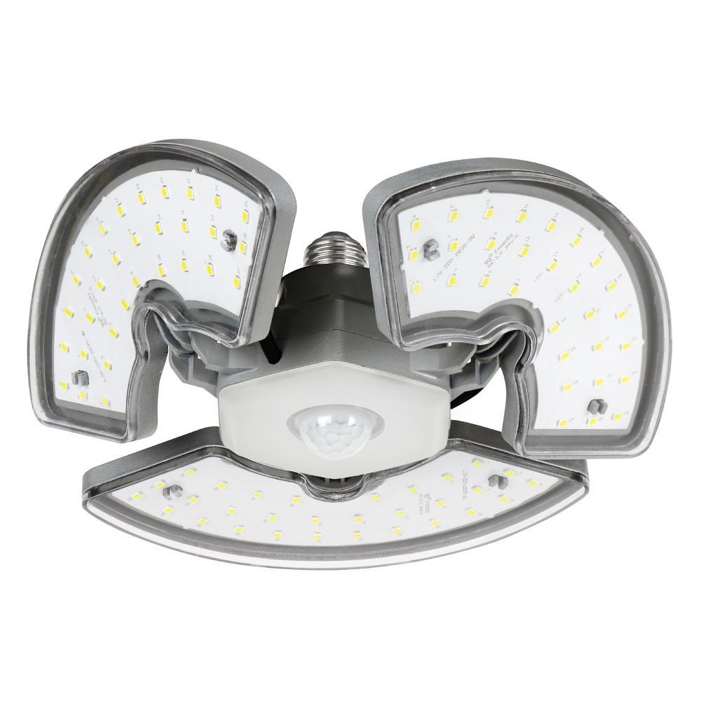 250-Watt Equivalent Oversize Motion Sensor Adjustable Panels Garage Ceiling Shop LED Light Bulb Daylight 5000K (6-Pack)