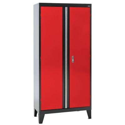79 in. H x 36 in. W x 18 in. D Modular Steel 2-Door Cabinet Full Pull in Black/Red