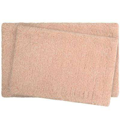 Rachel Lurex 17 in. x 24 in./20 in. x 34 in. 2-Piece Bath Rug Set, Blush