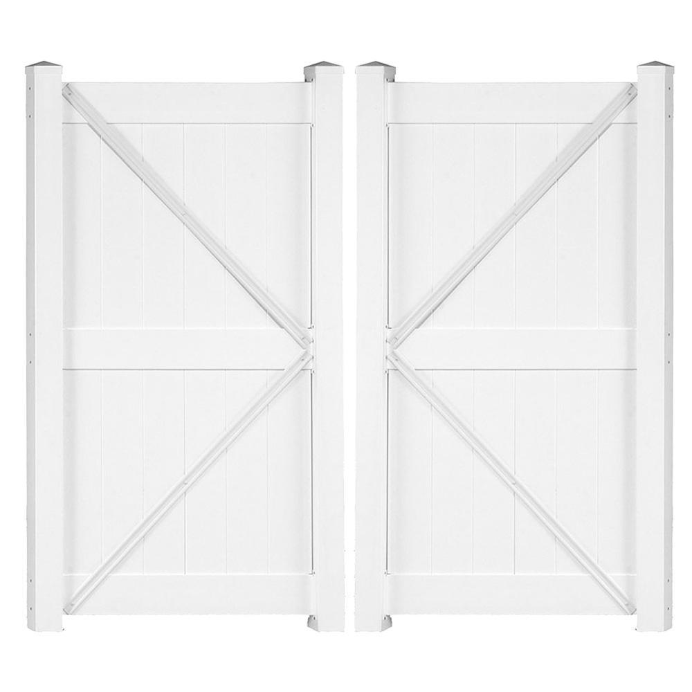 Augusta 7.4 ft. x 7 ft. White Vinyl Privacy Fence Double Gate Kit