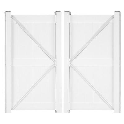 Augusta 7.4 ft. W x 8 ft. H White Vinyl Privacy Fence Double Gate Kit