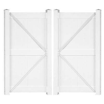 Augusta 7.4 ft. W x 8 ft. H White Vinyl Privacy Double Fence Gate