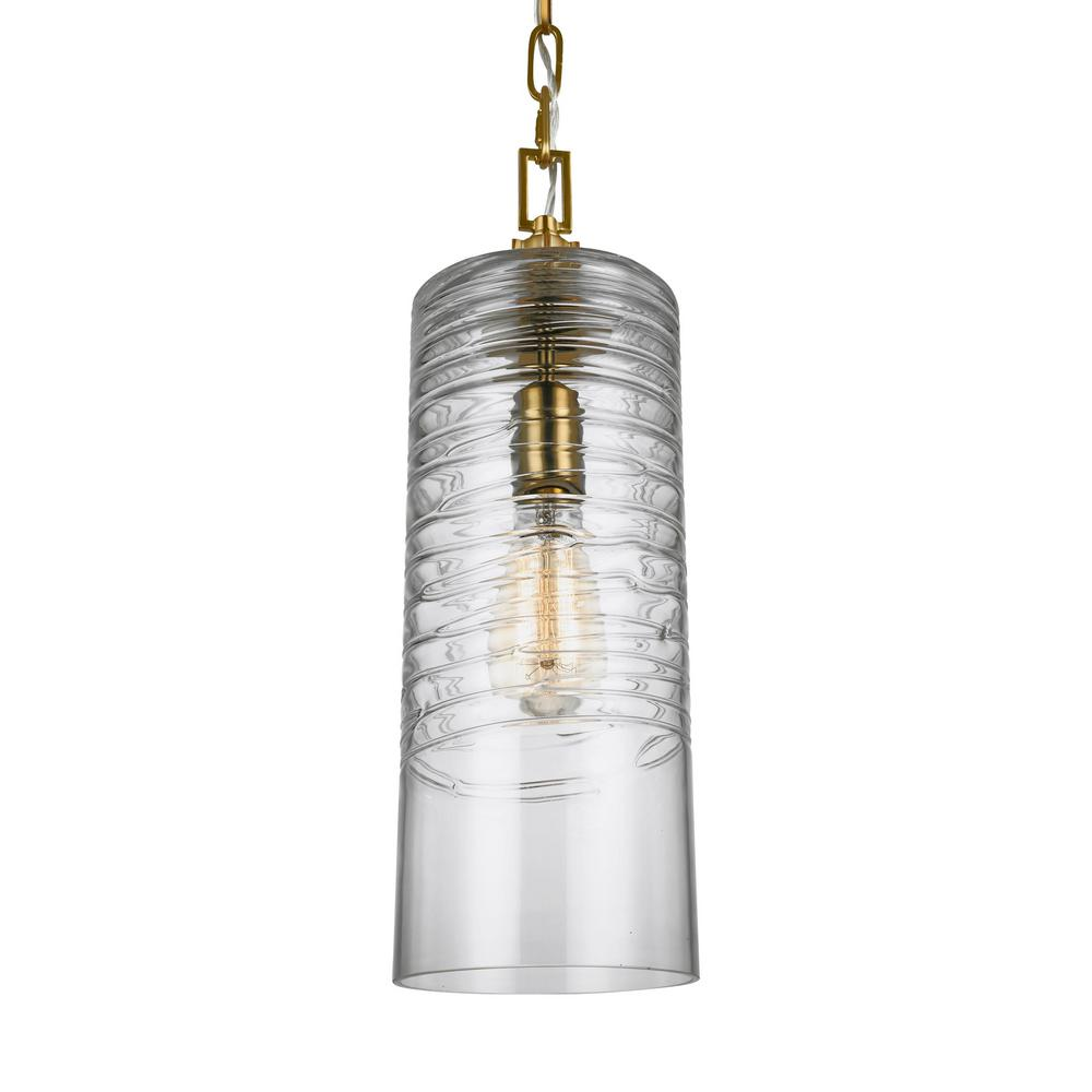 Elmore 1-Light Burnished Brass Pendant