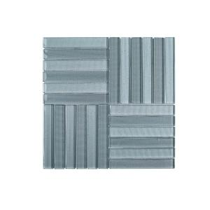 Downtown Parquet Blue 11.625 in. x 11.625 in. Glossy Glass Mosaic Tile (0.938 sq. ft./ Each)
