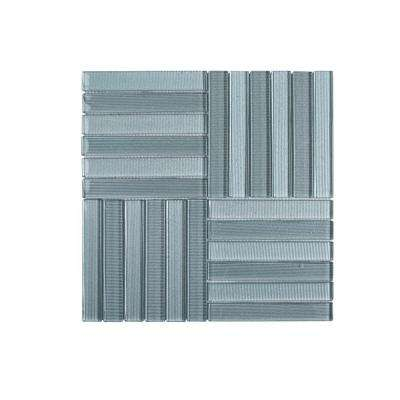 Downtown Parquet 11.625 in. x 11.625 in. x 8 mm Glass Mosaic Tile