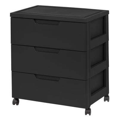 23.5 in. x 24.133 in. Black Drawer Wide Chest