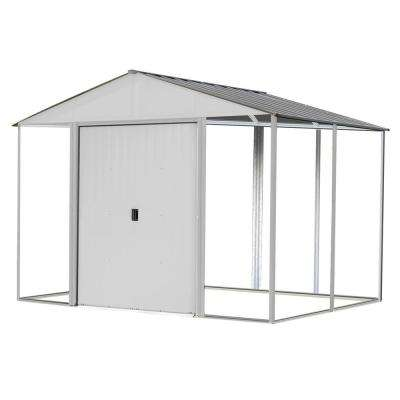 10 ft. x 12 ft. Ironwood Steel Hybrid Shed Kit Galvanized in Cream