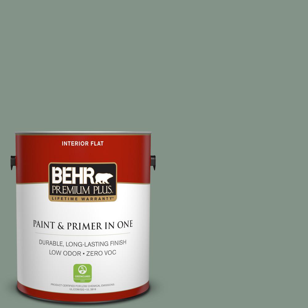 BEHR Premium Plus 1-gal. #460F-4 Wethersfield Moss Zero VOC Flat Interior Paint