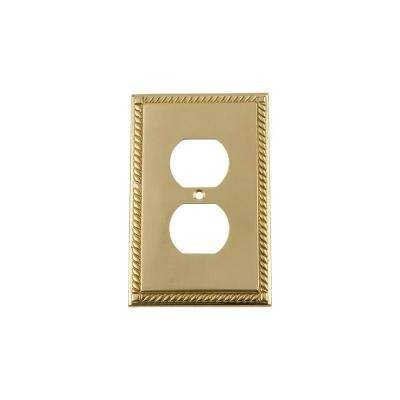 Rope Switch Plate with Outlet in Unlacquered Brass