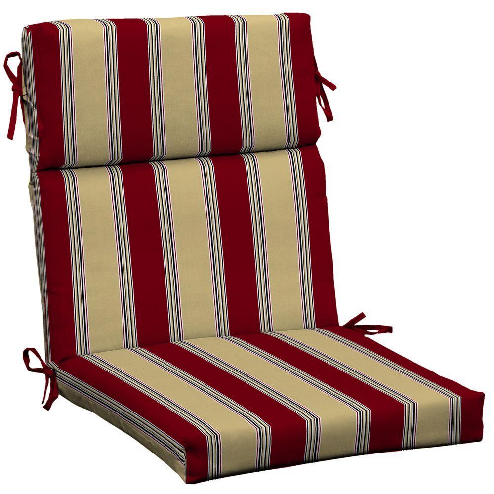 Hampton Bay Chili Stripe High Back Outdoor Chair Cushion