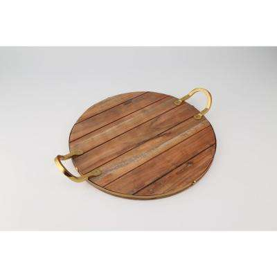 Industrial Luxe Round Acacia Wood with Gold Color Handles Serving Board